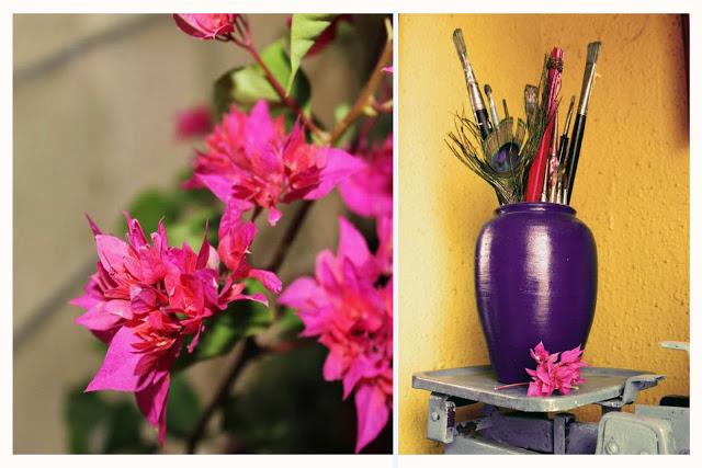purple vase pink flowers