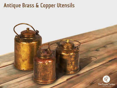 copper and brass vessels purple turtles