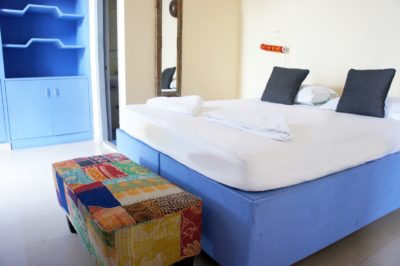 Blue bed, patchwork, chest, Bed and Chai Guesthouse