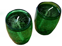 up-cycled Perrier bottle candleholder