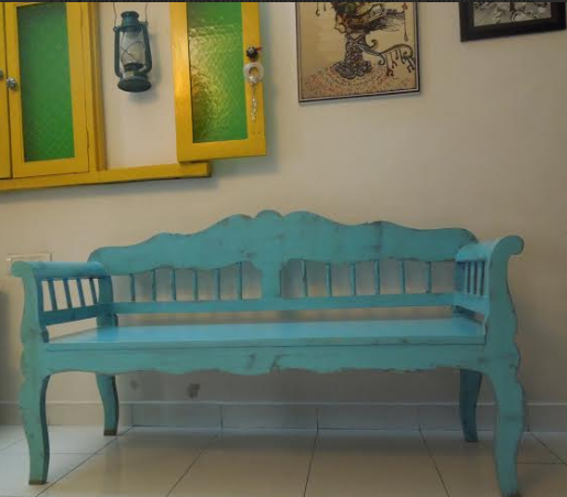 Blue distressed bench from Bohemian Soul Art