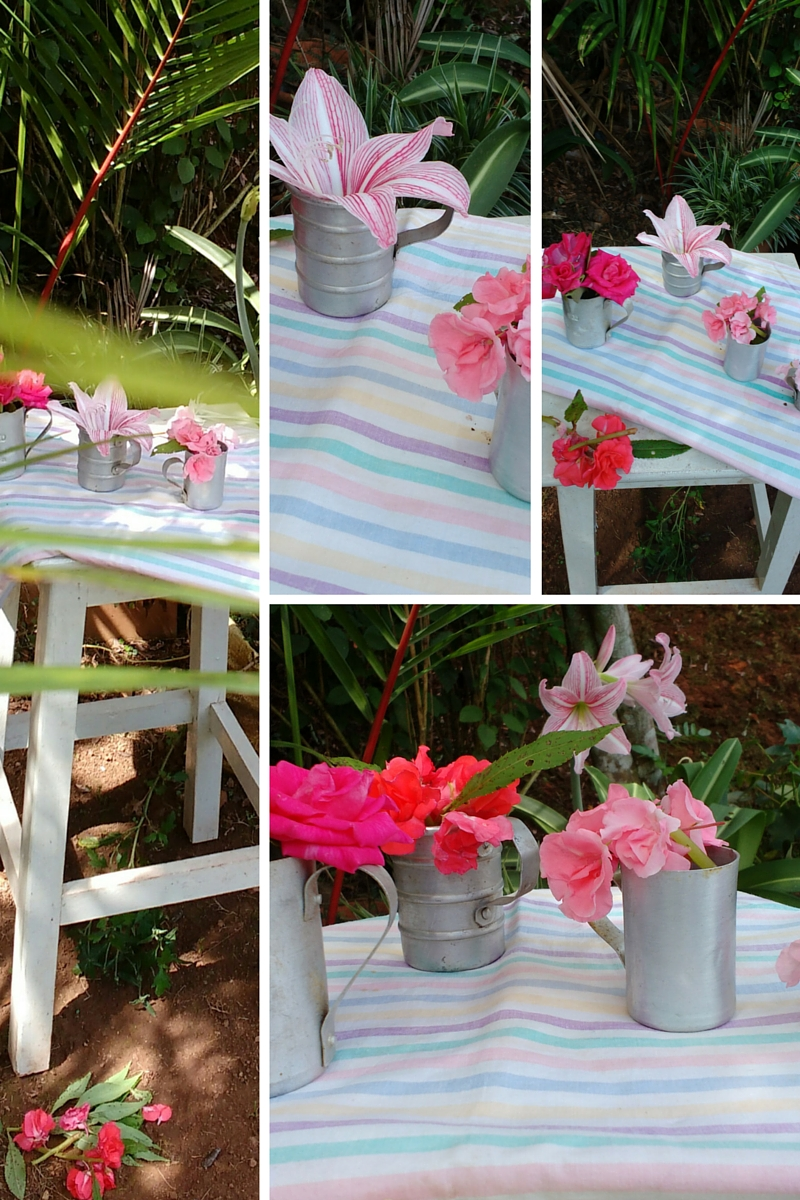 outdoor styling ideas - flower in vase cup