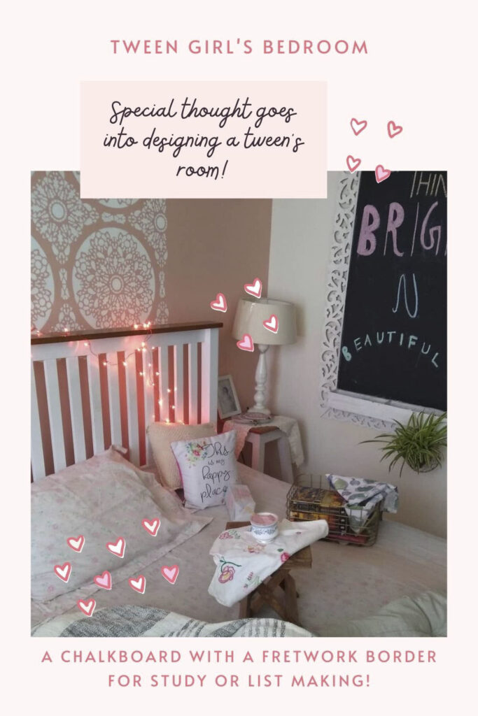 Chalkboards at tween girl bedroom for study or listing things or to do list
