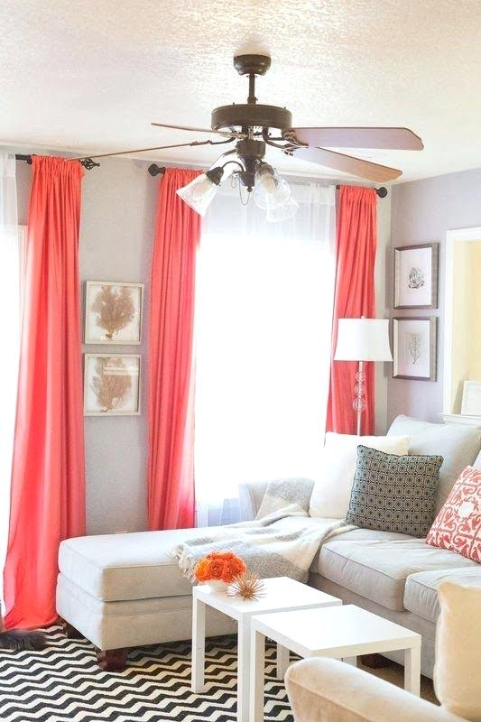 Curtain in living coral colour