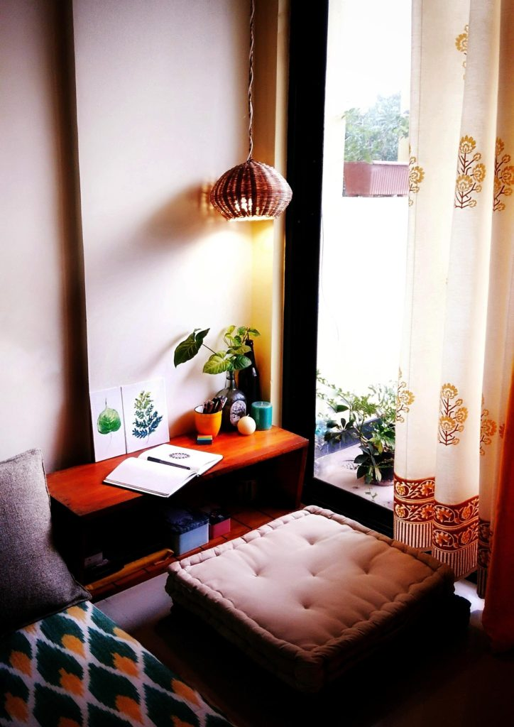 Jayati and Manali share their home tour as the science home décor - the calm and relaxing living area corner