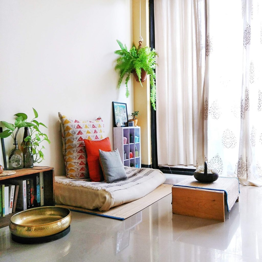 """Jayati and Manali share their home tour as the science home décor - A study room decorated with book shelf, green plants, frames and vintages"