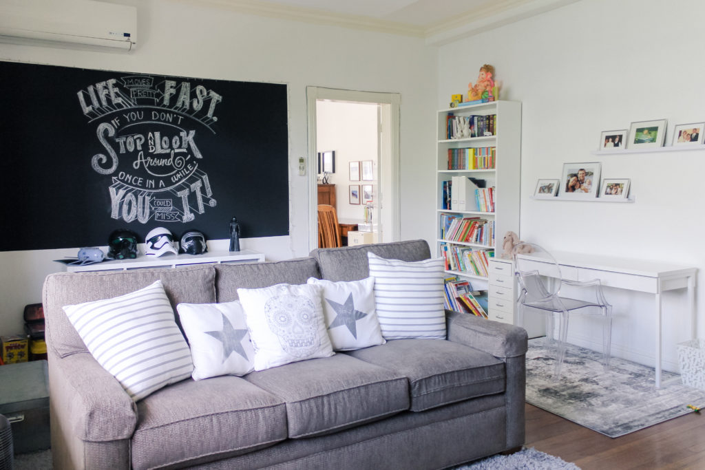 Home Tour with Kaho of Chuzai Living - a chalkboard wall décor at kids playroom and study room