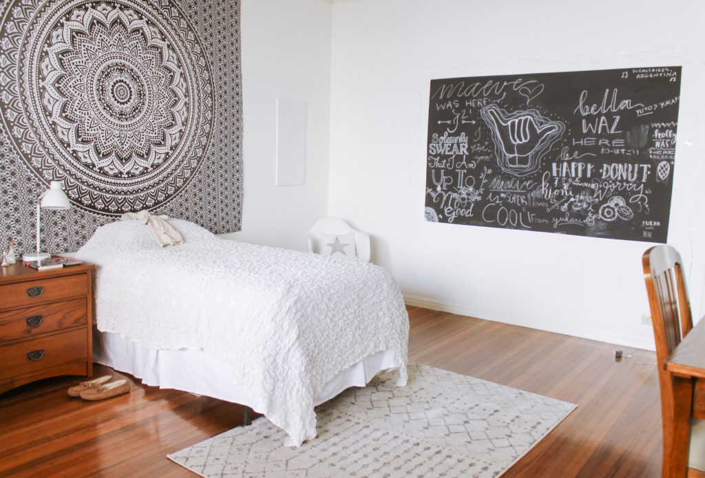 Home Tour with Kaho of Chuzai Living - kid bedroom filled with chalkboard, chest desk and study desk