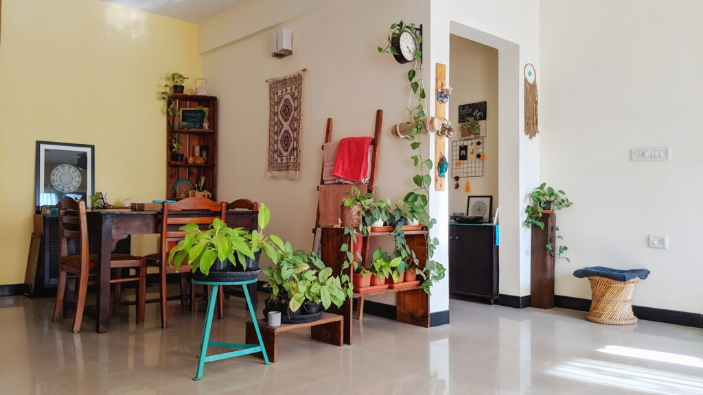 Jayati and Manali share their home tour as the science home décor - The dinning room are decorated with wall hanging table runner, indoor green plants, frames and vintages