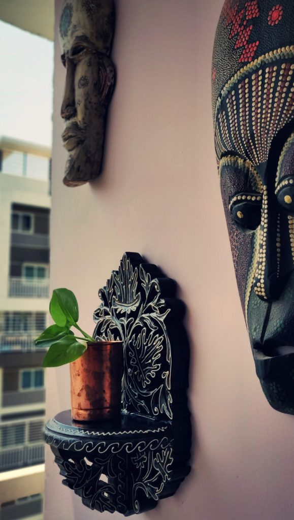 Home style Tour with Rajni in Hyderabad: the copper planter hanging on the wall