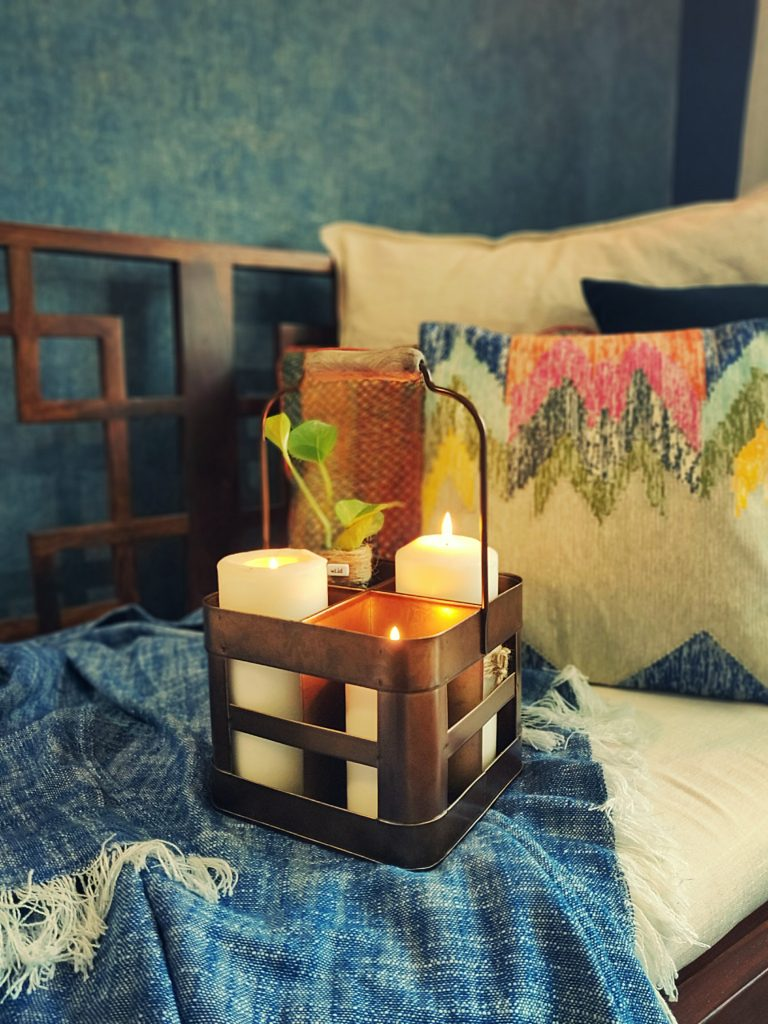 Home style Tour with Rajni in Hyderabad: Using the metal bottle holder as a candle stand and plant holder