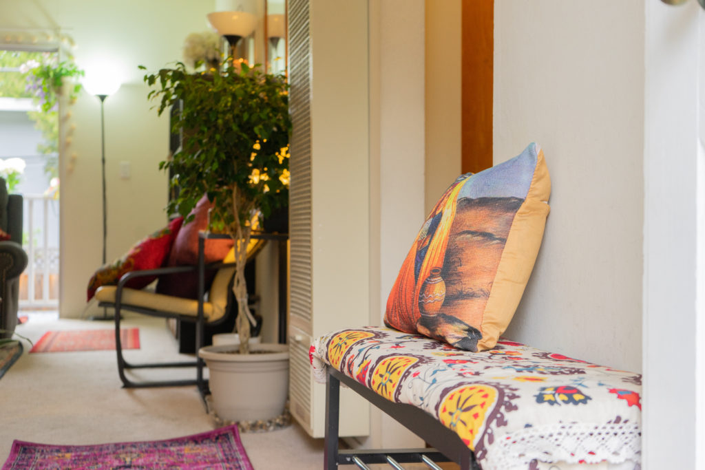 Affinity for antiques home tour of Rushika & Dipkal's - the lovely corner of the room to relax