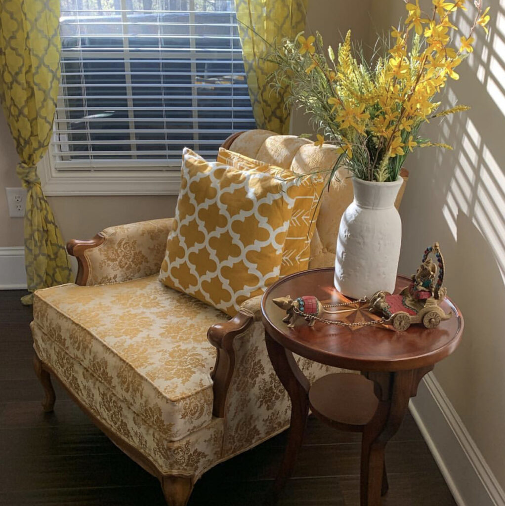 The corner of the room is filled with yellow color