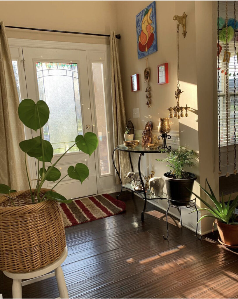 The entry way is decorated with green plants, vintage items, brass collection and wall frames