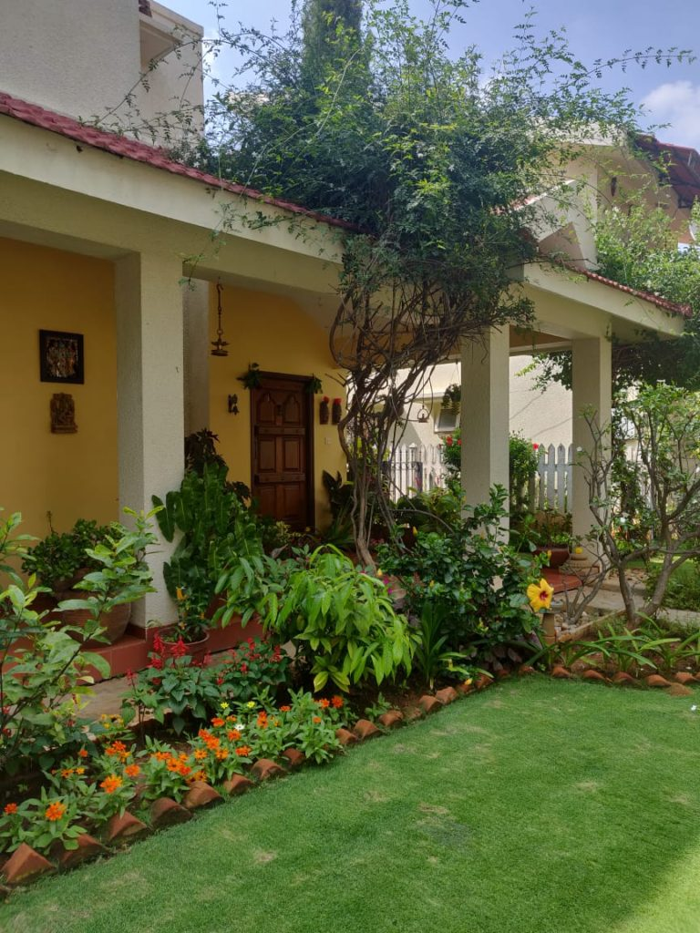 the garden surrounded by greenery in front yard entryway