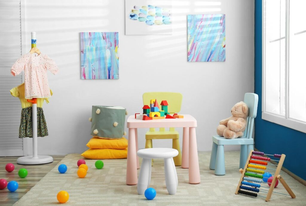 bright and colorful toddler room safe indoor play areas for toddlers