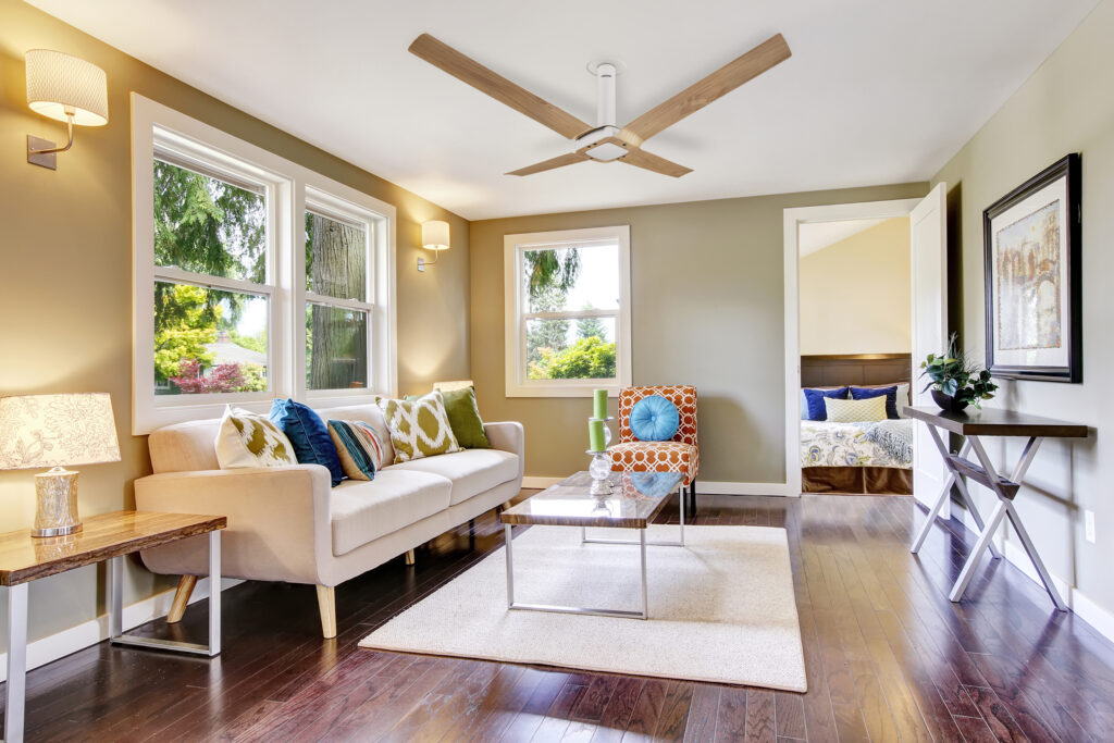 New York madison pine wood fan from Lumminous Signature collection in this modern living room.