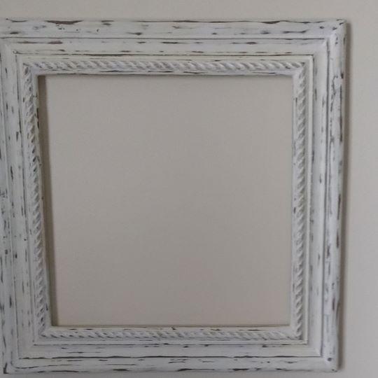 Square white teak wood frame with chalkboard