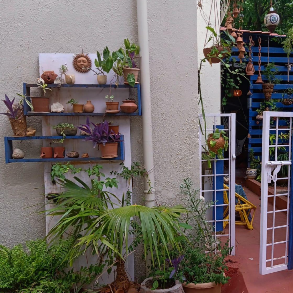 The old door and shelves juxtaposed with plants and little terracotta pots at entrance | Leesha's Pune home | Thekeybunch