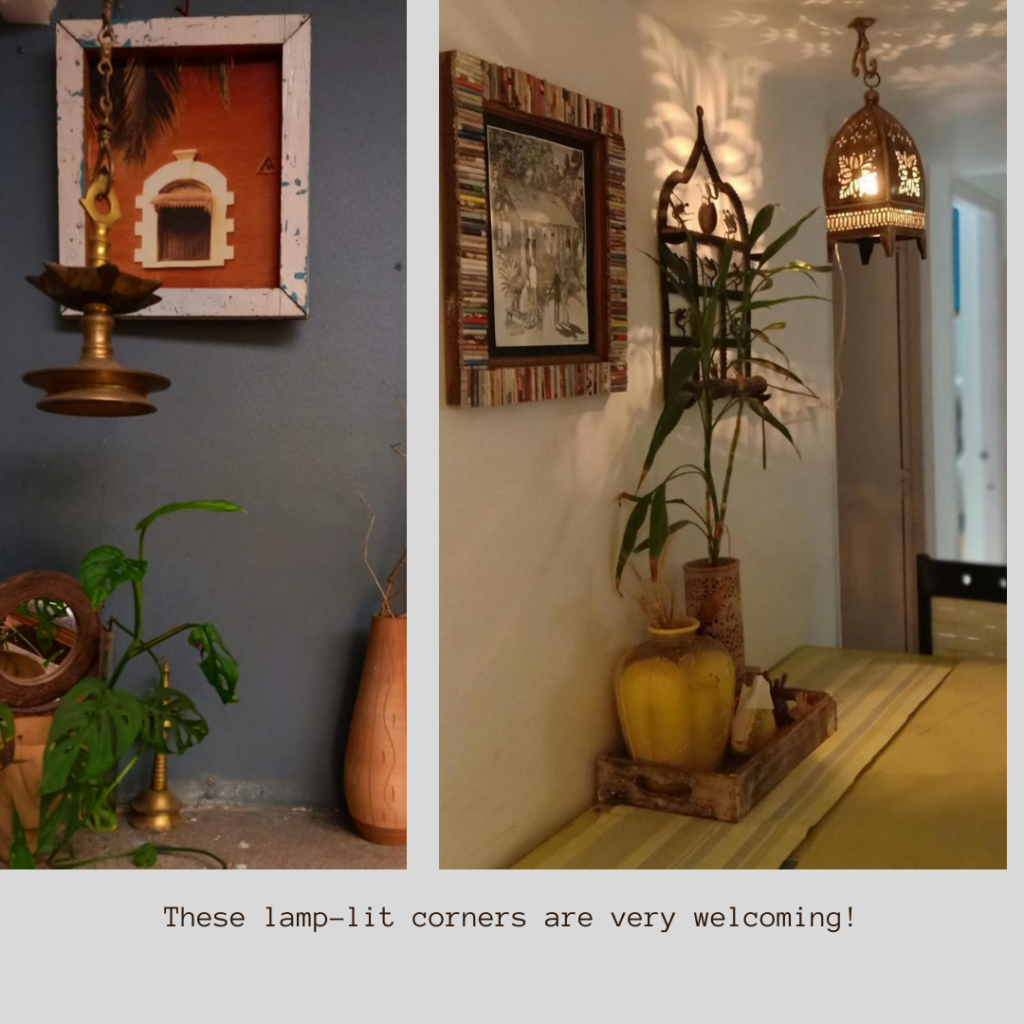 Leesha create these lamp-lit at the corner of the room | Pune home tour | Thekeybunch