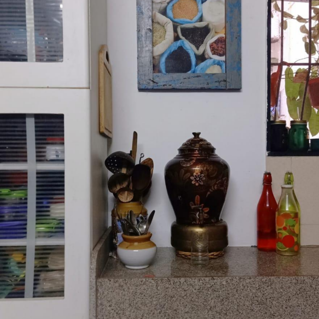 The frame spices and kitchen accessories at the corner of the kitchen | Leesha's Pune home | Thekeybunch