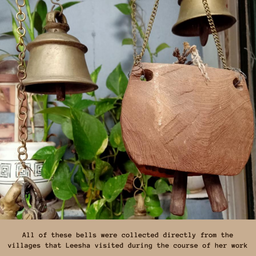 These bells were collected directly from the villages when Leesha traveling | Pune home tour | Thekeybunch