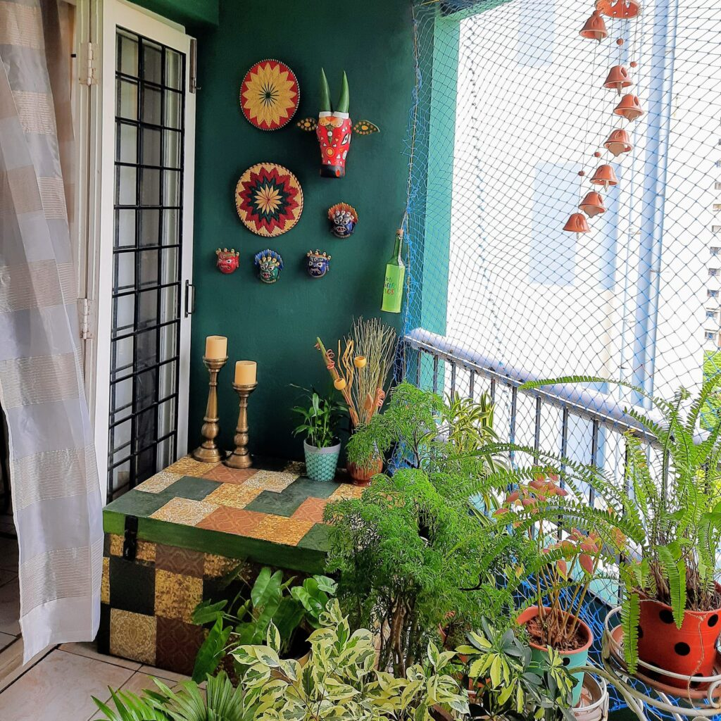 Beautiful balcony with lovely green plants and wall decor | Upasana Talukdar home tour | Thekeybunch decor