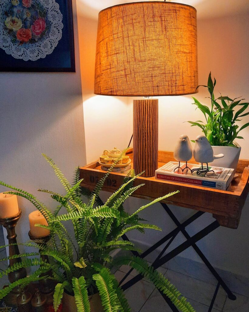 Table lamp at the corner of the room | Upasana Talukdar home tour | thekeybunch decor