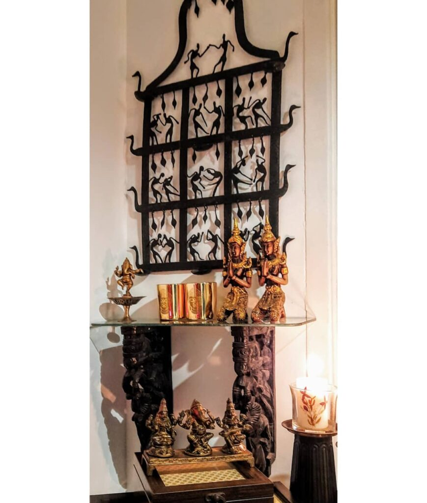 Antique wall decor and vintages at the corner of the room | Upasana Talukdar home tour | thekeybunch decor