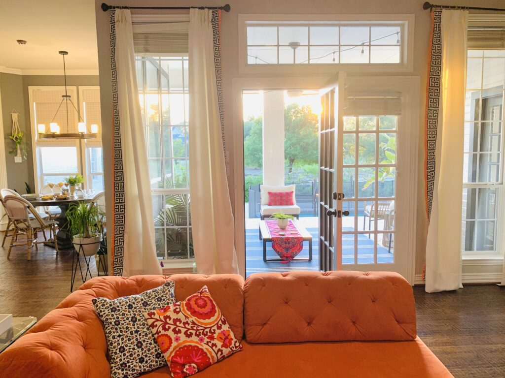 adding warm touches to the modern grey painted walls, sprinkling ethnic Indian accents to the contemporary beach house look  | Ruma's Indian Home in Texas | theKeybunch decor blog