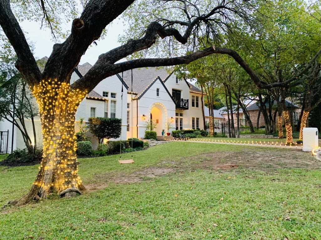 the outdoor is decorated with lights for celebrating the Indian festival | Ruma's Indian Home in Texas | theKeybunch decor blog