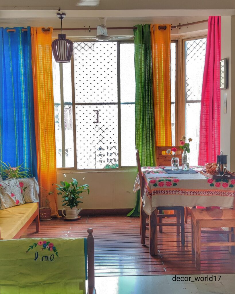 These beautiful curtains make such a good color to brighten a room | Dharitri home tour | thekeybunch decor