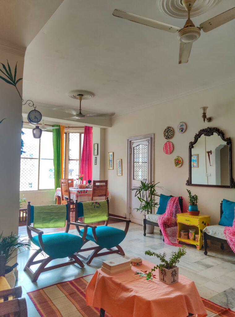 Energetic and colorful living room decor | Dharitri home tour | thekeybunch decor