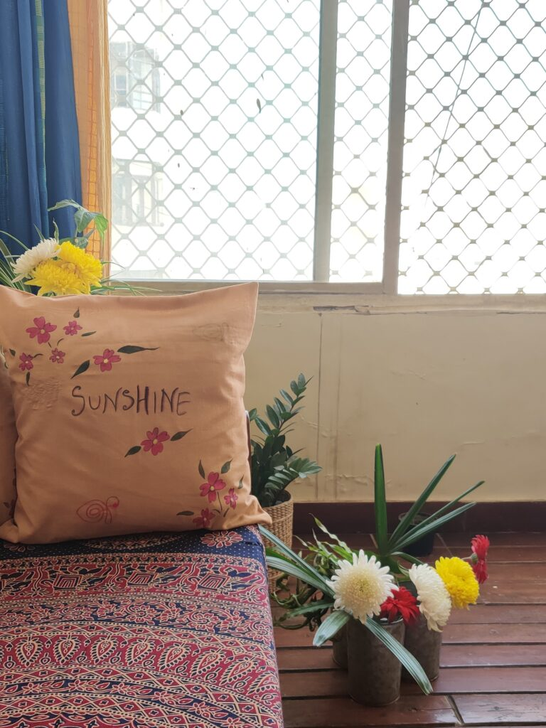Handpainted cushion covers are pretty personal touches. | Dharitri home tour | thekeybunch decor