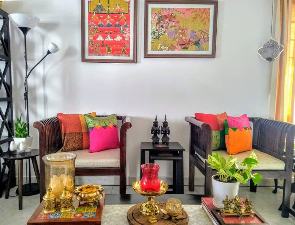 Energetic and colorful living room design ideas | Upasana Talukdar home tour | thekeybunch decor