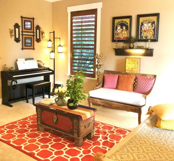 The piano, the 3rd element in this gorgeous wood and brass dominated space - Decor trends 2021 for Indian homes | Thekeybunch decor blog