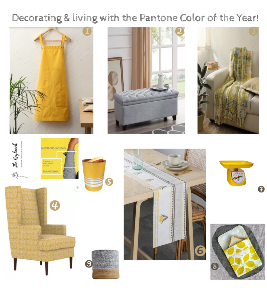 Illumnating Yellow accents against Ultimate Gray counters or vice versa will look lovely in these colours - Pantone® COTY21 theKeybunch decor blog