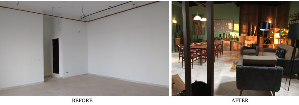 Before and after of drawing and dining room design - 'Sir' Indian Movie set | theKeybunch decor blog