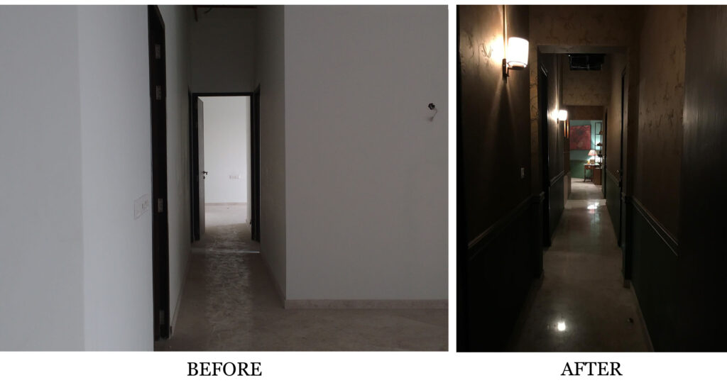 Before and after view of entryway department - 'Sir' Indian Movie set | theKeybunch decor blog