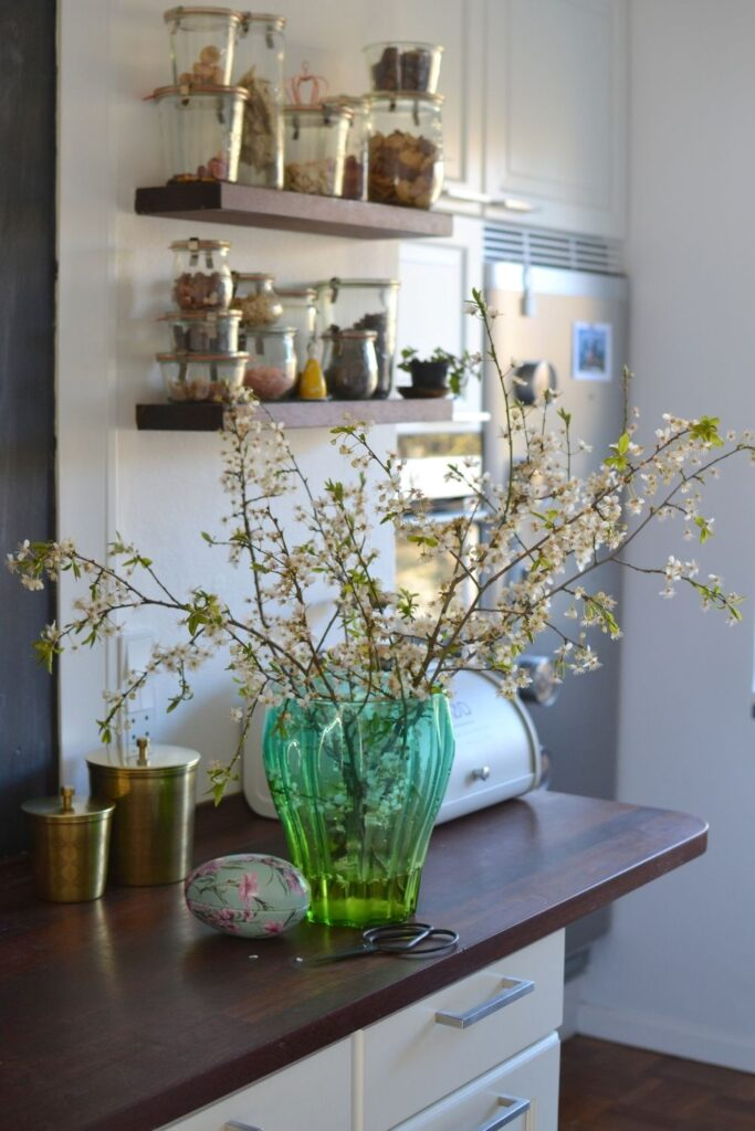 Glass vase and flowers at the kitchen room | Naina's Scandi-Minimalist Home with Indian Accents