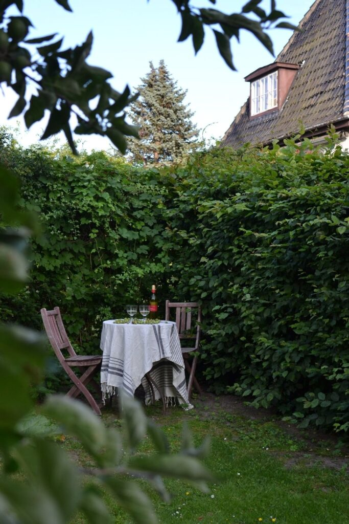 Backyard garden furniture with lush greenery | Naina's Scandi-Minimalist Home with Indian Accents