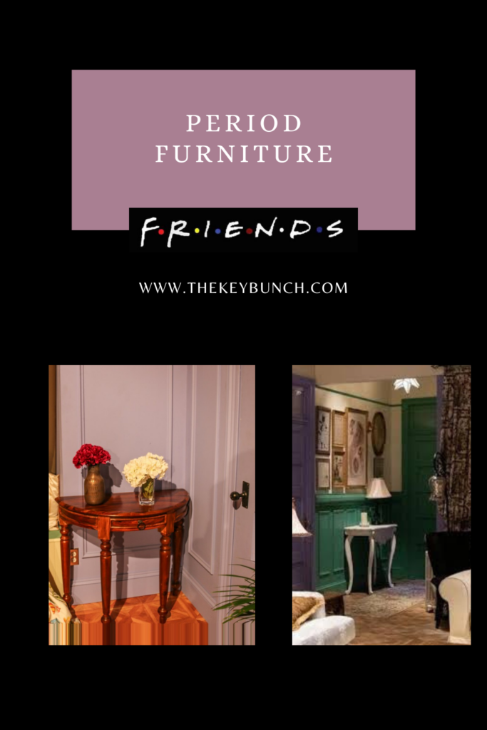 The period furniture was part of the set - the copper vase on the left pic and the lovely gallery wall atop the white console | DECOR ELEMENTS FROM THE SET THAT ARE COOL EVEN TODAY | theKeybunch decor blog