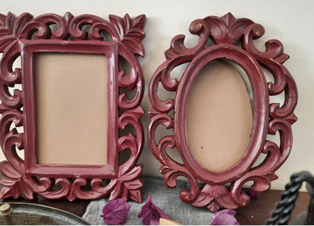 oval and rectangle wooden frame