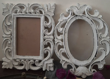oval and rectangle wooden frame in white