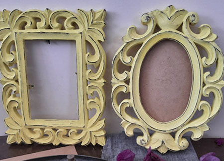 oval and rectangle wooden frame in yellow