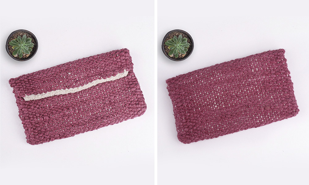 back and front view of the coin purse | 6 Tapestry DIYs on Muezart's home-use loom