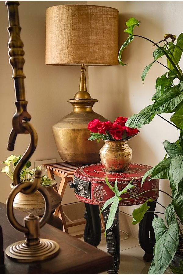 """Antique brass """"paanai"""" and """"vilakku"""" to make a table lamp 