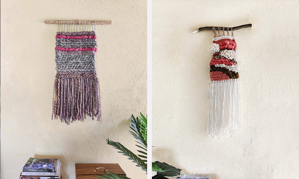 2 beautiful wall hangings made with home tapestry loom | 6 Tapestry DIYs on Muezart's home-use loom