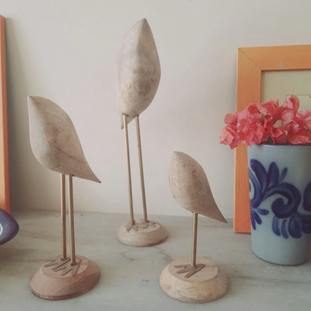 Set of 3 Abstract Bird Figures - The Keybunch Wooden products