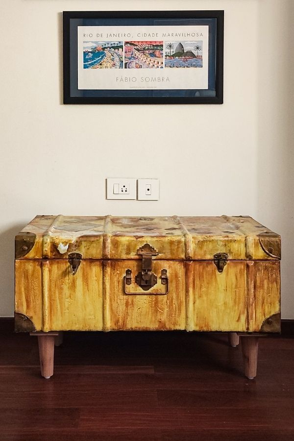 A vintage trunk with legs added - as a sideboard in the study | Home Tour: A beautiful Antique Modern home in Bangalore
